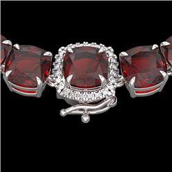 87 CTW Garnet & Diamond Halo Micro Pave Necklace 14K White Gold - 23346-REF#251R8K