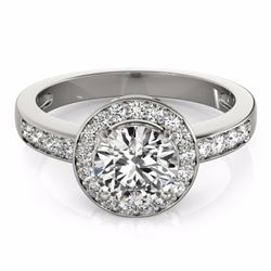 2 CTW Certified Fancy Intense Genuine Diamond Solitaire Halo Ring 10K White Gold - 34358-REF#175V8A