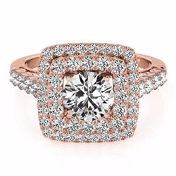 2.30 CTW Certified Fancy Intense Genuine Diamond Solitaire Halo Ring 10K Rose Gold - 34602-REF#181W6