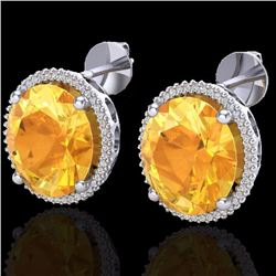 20 CTW Citrine & Micro Pave Diamond Certified Halo Earrings 18K White Gold - 20268-REF#99H3W
