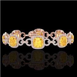 30 CTW Citrine & Micro Diamond Certified Bracelet 14K Rose Gold - 23019-REF#267R6K