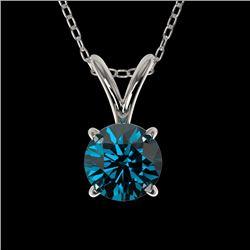 0.53 CTW Certified Intense Blue Genuine Diamond Solitaire Necklace 10K White Gold - 36728-REF#36G5M