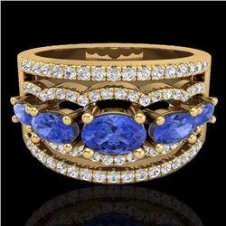 2.25 CTW Tanzanite & Micro Pave Diamond Certified Designer Ring 10K Yellow Gold - 20808-REF#65T2Z