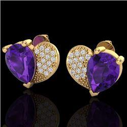 2.50 CTW Amethyst & Micro Pave Diamond Certified Earrings 10K Yellow Gold - 20065-REF#25W5H