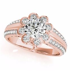 1.50 CTW Certified Fancy Intense Genuine Diamond Solitaire Halo Ring 10K Rose Gold - 34476-REF#120G2