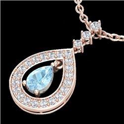 1.15 CTW Aquamarine & Micro Pave Diamond Necklace Designer 14K Rose Gold - 23161-REF#55Z2T