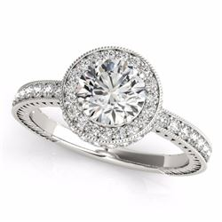 1.51 CTW Certified Fancy Blue Genuine Diamond Solitaire Halo Ring 10K White Gold - 34306-REF#122R5K