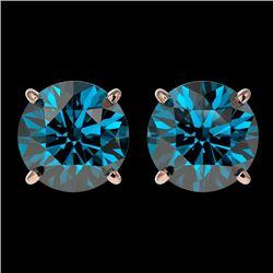3.15 CTW Certified Intense Blue Genuine Diamond Solitaire Stud Earrings 10K Rose Gold - 36707-REF#28