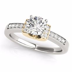 1.11 CTW Certified G-I Genuine Diamond Solitaire Bridal Ring 10K White & Yellow Gold - 34830-REF#96H