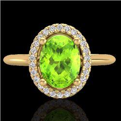 1.75 CTW Peridot & Micro Diamond Bridal Ring Solitaire Halo 18K Yellow Gold - 21017-REF#45M9G