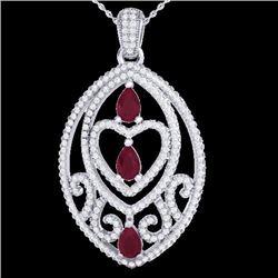 3.50 CTW Ruby & Micro Pave Diamond Heart Necklace Designer 18K White Gold - 21292-REF#141R6K