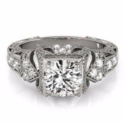 1.25 CTW Certified Fancy Blue Genuine Diamond Solitaire Antique Ring 10K White Gold - 34671-REF#112V