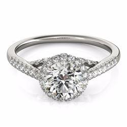 1.50 CTW Certified Fancy Intense Genuine Diamond Solitaire Halo Ring 10K White Gold - 34385-REF#118Z
