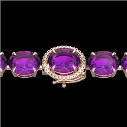 40 CTW Amethyst & Micro Diamond Halo Designer Bracelet 14K Rose Gold - 22248-REF#120T8Z