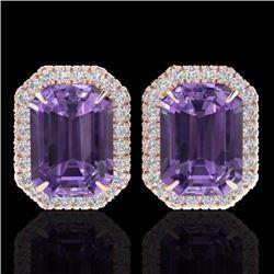 9.40 CTW Amethyst & Micro Pave Diamond Certified Halo Earrings 14K Rose Gold - 21215-REF#60N2F