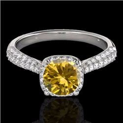 1.50 CTW Certified Fancy Intense Genuine Diamond Solitaire Halo Ring 10K White Gold - 33265-REF#114X