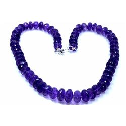 651 ct & up Amethyst Faceted Vintage Smooth Rondelle  Beaded Necklace