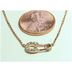 14K ROSE GOLD PENDANT WITH CHAIN 2.4g/Diamond 0.11ct