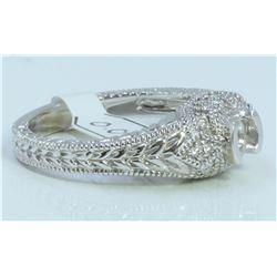 14K WHITE GOLD RING 5.93 GRAM  DIAMOND 0.20CT SIDES