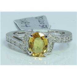 14K WHITE GOLD RING 4.44 GRAM  DIAMOND 0.15CT YELLOW SAPPHIRE 1.79CT