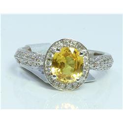 14K WHITE GOLD RING 4.8 GRAM  DIAMOND 0.66CT YELLOW SAPPHIRE 1.5CT