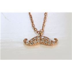 14K ROSE GOLD PENDANT WITH CHAIN :1.8g/Diamond:0.07ct