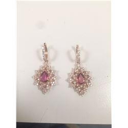 Natural pink Tourmaline 3 CT Ring, Diamond 2.25 CT 14K Rose Gold :7 grams Diamond:2.25 CT