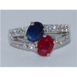 Ruby and Blue Sapphire Ring 1.0 ct