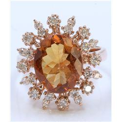 14K ROSE GOLD RING 5.97GRAM DIAMOND 0.69CT IMPERIAL TOPAZ 3.83CT