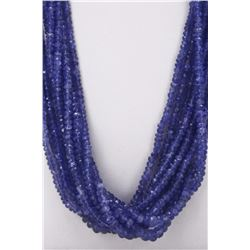Tanzanite Beaded Necklace Rope 498.00 ct or over