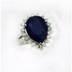 BLUE SAPPHIRE PEAR 7.84CT, GLS 9187  14K W/G RING 7.60GRAM / DIAMOND RD 0.50CT