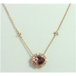 14K ROSE GOLD PENDANT WITH CHAIN 4g/Diamond 0.32ct/PINK  Tourmaline 3.62ct