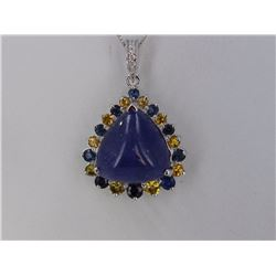 Cabochon Tanzanite  34.67 ctw, Yellow and Blue Sapphire & Diamond Pendant