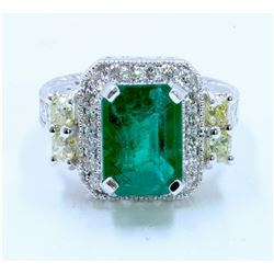 Y.DIAMOND 0.56CT / EMERALD 2.76CT, 14K W/G RING 6.54GRAM / DIAMOND RD 0.58CT