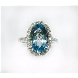 AQUAMARINE 3.51CT,  14K W/G RING 4.09GRAM / DIMOND RD 0.50CT