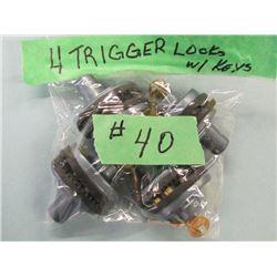 Lot of 4 trigger locks with keys