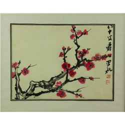 Watercolor Prunus Framed Zhang Daqian 1899-1983