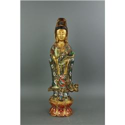 Chinese Gilt Hardstone Guanyin Finger Chipped
