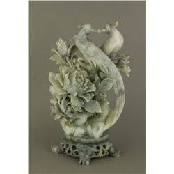 Chinese Shoushan Stone Carved Birds w/ Stand