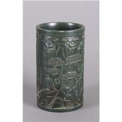 Chinese Spinach Green Jade Carved Brushpot Qing