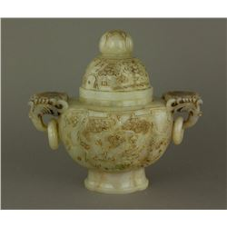 Chinese White Jade Carved Archaic Censer w/ Cover