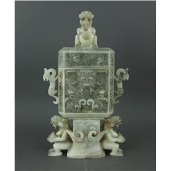Chinese White Jade Carved Archaic Vase with Cover