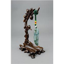 Chinese Fine Green Jadeite Hanging Pendant