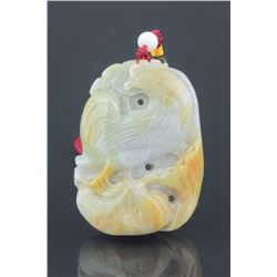 Chinese White Jade Carved Chicken Pendant