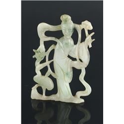 Chinese 18th C. Green Jadeite Carved Pendant