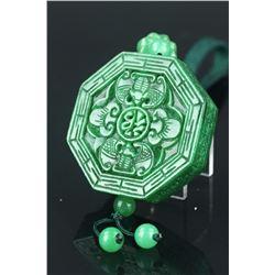 Chinese Hexagon Emerald Green Jadeite Pendant