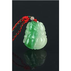 Chinese Emerald Green Jadeite Pendant Carved Bat