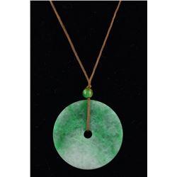 Chinese Green Jadeite Round Bi Disc Pendant