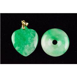 Two Pcs of Chinese Emerald Green Jadeite Pendants