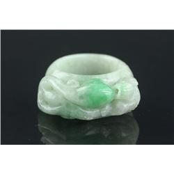 Chinese Fine Green Jadeite Ring with Cert